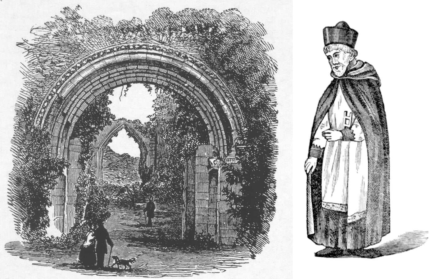 a-19th-Century-sketch-of-the-west-front-and-a-Lilleshall-canon